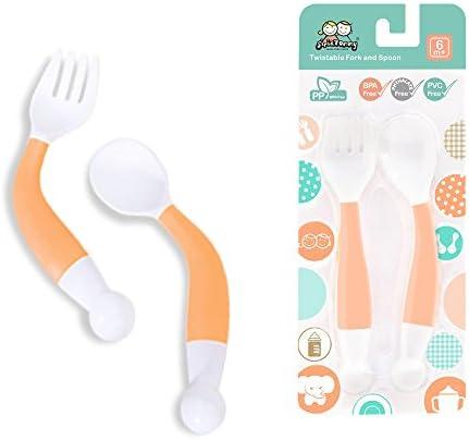 Baby Feeding Spoon Fork Set Utensil Curved Handle Training BPA Free Kids Tableware Flatware product image