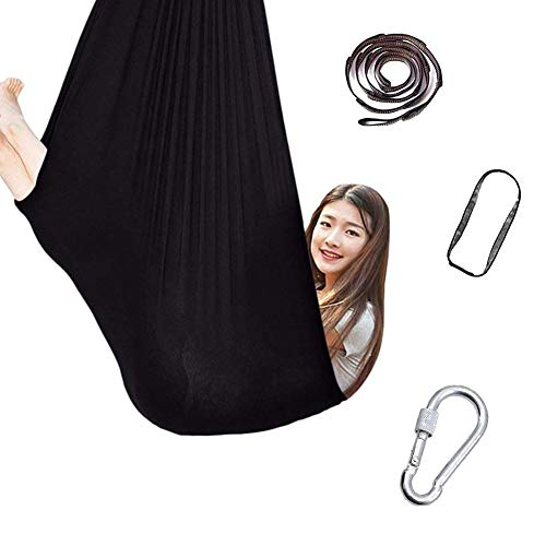 Indoor Therapy Swing For Kids With Special Needs Cuddle Hammock Adjustable Aerial Yoga Children Autism ADHD And SPD 440lbs Load Capacity (Color : Black, Size : 150x280cm/59x110in)