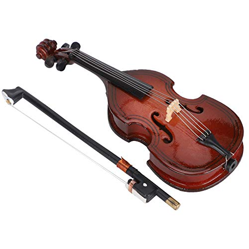 Yagosodee Mini Bass Ornaments Wooden Small Musical Instrument Model Home Decoration 10cm