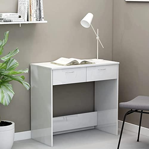 SHUJUNKAIN Escritorio de aglomerado Blanco Brillante 80x40x75 cm Mobiliario Mobiliario de Oficina Escritorios Blanco con Brillo