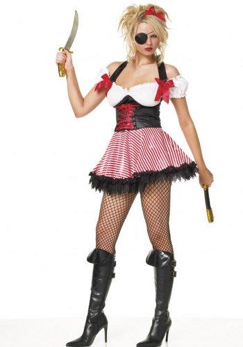 Leg Avenue 83088 - Pirate Wench Kostüm, Größe: XL, weiß/rot/schwarz