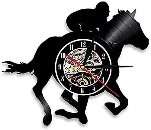 ZZLLL Rider Horse Animal Gift Reloj de Pared para Hombre y Mujer Reloj de Vinilo con Disco de Vinilo Art Deco Reloj Vintage Hecho a Mano Sin LED