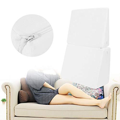 Cocoarm wigvormige kussen rugkussen met nekrol voor bed en sofa nekkussen televisiekussen leeskussen 60 x 40 x 17,5 cm