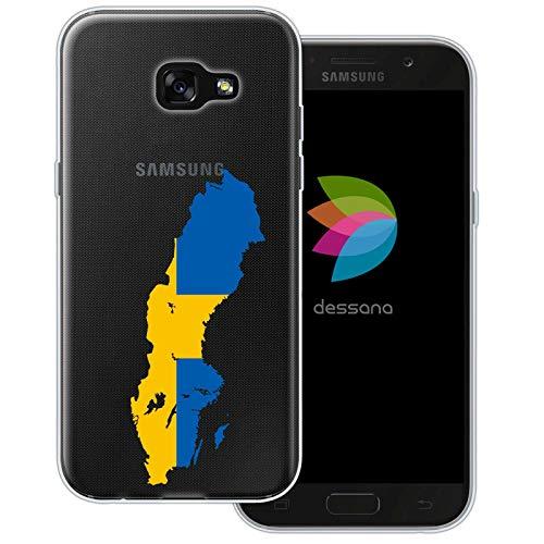 dessana Sverige transparent skyddsfodral mobiltelefon fodral fodral väska för Samsung Galaxy A J, Samsung Galaxy A5 (2017), Sverige karta