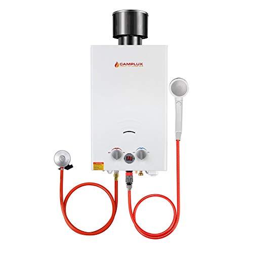 Camplux BW264C CE-zertifiziert Tankless Gasdurchlauferhitzer mit Regenkappe, 10L Outdoor Gas Propan Durchlauferhitzer Instant Warmwasserbereiter für Pferdedusche, Camping, Wohnmobilausflug
