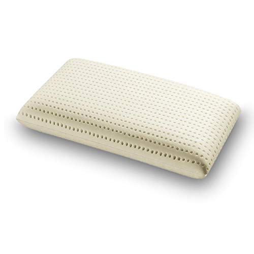 SLEEPYS Cuscino in Lattice Naturale, 74x42 Alto 12 cm saponetta Forato con Fodera in Jersey 100% Cotone - Guanciale Lattice TALALAY Anallergico