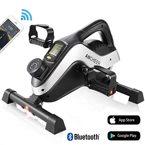 ANCHEER Mini Bike Heimtrainer Bewegungstrainer Arm- und Beintrainer, Pedaltrainer Hometrainer Fahrrad fitnessgeräte mit APP-Simulationsspiel, LCD-Display, 8 Widerstandsstufen