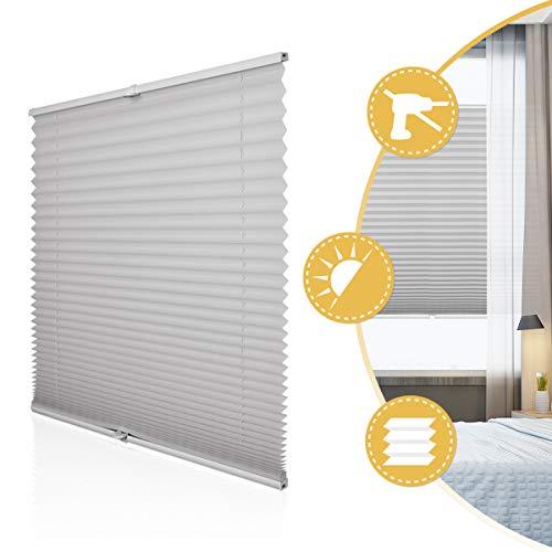 Deswell Plissee Rollo Jalousie ohne Bohren Klemmfix für Fenster & Tür Hellgrau 60 x 100 cm, Plisseerollo Stoff Sonnenschutz leicht zu montieren & Verspannt