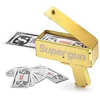 Alagoo Super Money Guns Paper Playing Spary Money Gun Make it Rain Toy Gun Handheld Cash Gun Fake Bill Dispenser Money Shooter with 100 Pcs Play Money Metallic Gold