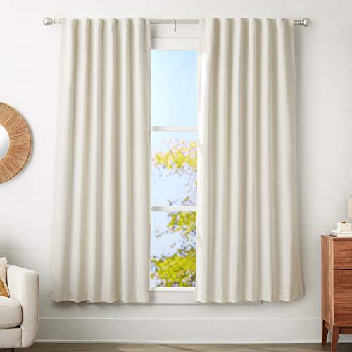 Amazon Basics – Barra de cortina con terminales redondeados, 3cm de diámetro, longitud ajustable de 183 a 366cm, níquel