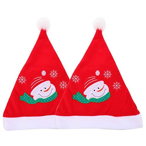 PRETYZOOM 2 Stück Weihnachtsmütze Weihnachtsmütze Weihnachtsmütze für Erwachsene Kinder Weihnachten Neujahr Festliche Weihnachtsfeier Liefert Foto Requisiten Schneemann Stil