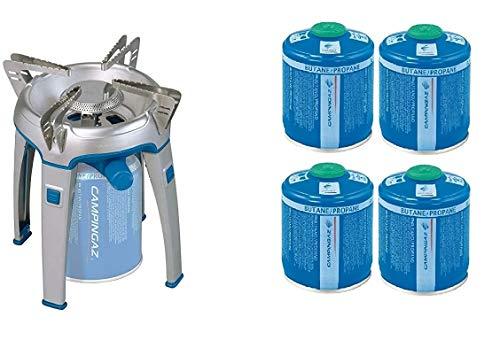 ALTIGASI Réchaud à gaz Bivouac Campingaz Puissance 2600 W avec Sac de Transport - Système Cartouche Amovible + 4 Cartouches à gaz CV300 de 240 g