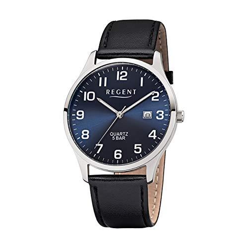 Regent Herren-Armbanduhr Elegant Analog Leder-Armband schwarz Quarz-Uhr Ziffernblatt blau UR1113409