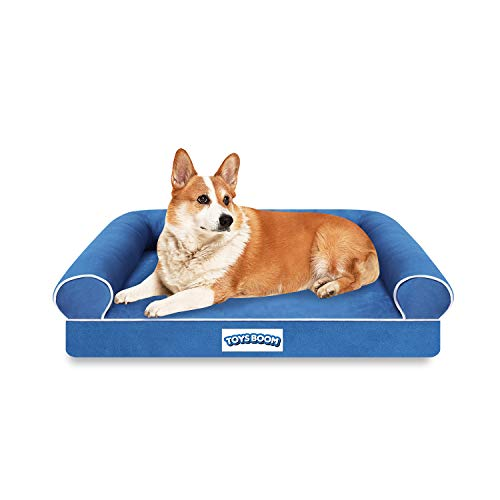 TOYSBOOM Orthopedic Dog Bed Memory Foam -Dog Couch Bed with Ergonomic Pillow Bolster Comfortable Mattress, Waterproof Dog Bed with RemovableWashable Cover, Pet Sofa Bed for Small Dogs and Cats