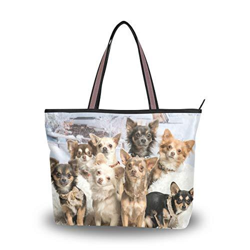 MyDaily Damen-Schultertasche mit süßem Chihuahua-Hund, Mehrfarbig - mehrfarbig - Größe: Large