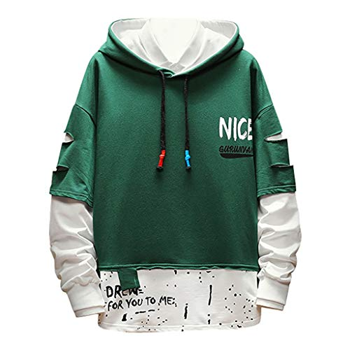 Best Deals! WYTong Men's Patchwork Hoodeies Pullover Long Sleeve Hooded Sweatshirt Fashion Print Blo...
