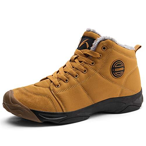 Axcone Winterschuhe Damen Herren Warm Gefüttert wasserdicht Winterschuhe Winter Outdoor Boots Wanderstiefel Stiefel Unisex - Braun 44EU