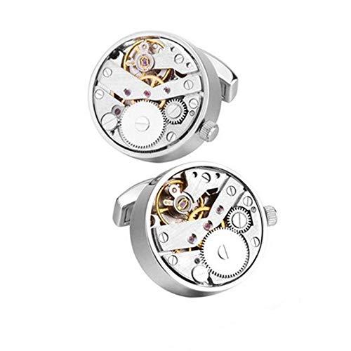 Charles William Uhrwerk Manschettenknöpfe funktionell Uhr und Uhrwerk Silber Hohe Qualität kann sehen, wie sich die Zahnräder und Räder drehen