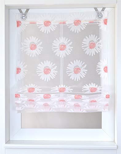 Kutti Raffrollo Ösenrollo Weiss transparent Blume beige/rosa Daisy Breite 45/60/80/100 x Höhe 140 cm (ca. 100/140 cm, Weiss-rosa)
