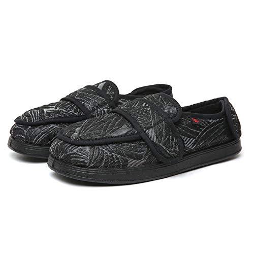 Mujer Zapatos Diabeticos,Zapatos de Mujer valgus de Empeine Alto y Pulgar, Zapatos para Ancianos con pies hinchados-36_Zapatos de Tela de Primavera y otoño con patrón de Hojas, hinchados Extra Anch