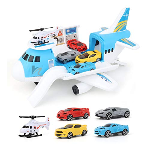 perfeciti Kinder Transport Flugzeug Und Auto Spielzeug Set Für 3+ Jahre Alte Jungen Und Mädchen Mit 4 Autos, 1 Hubschrauber Und Flugzeug, Vorschule Spielzeug Geburtstag Kinder