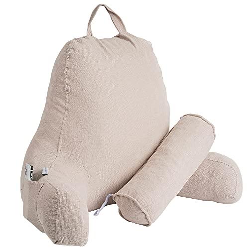 MERIDIA Almohada de Lectura Transpirable con Cojín Cervical y Reposabrazos - Ideal como Respaldo de Cama, Sofá o Suelo para Trabajar, Leer o Jugar