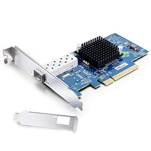 H!Fiber.com 10GB PCIE Netzwerkkarte für Intel X520-DA1-82599ES Chip, Single SFP+ Port, PCI Express X8 LAN Netzwerkadapter für Windows Server, Win7 / 8/10, Linux, VMware ESX