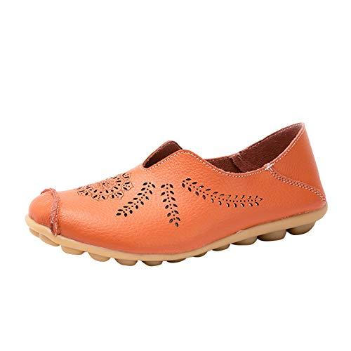 DAIFINEY Damen Mokassin Slipper Loafers Hohl geschnitzt Leichte Comfort Schuhe Hüttenschuhe Schlupfschuh Slip on modisch Freizeitschuh Bequeme Flache(1-Orange/Orange,36)