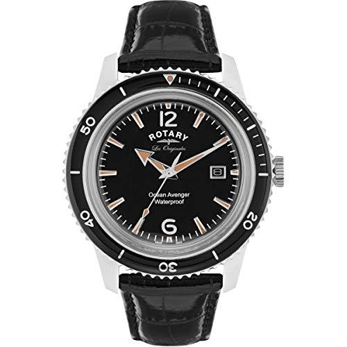 Rotary Orologi da uomo svizzero Ocean AVENGER quadrante nero orologio con...