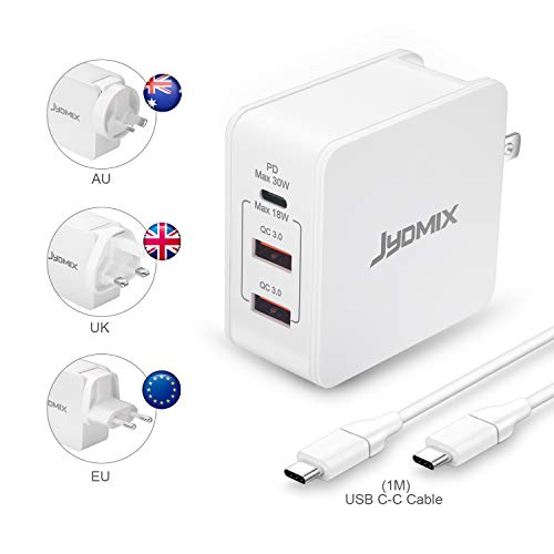 JYDMIX USB C PD Charger 30W, 3-Port Universal Travel Charger with USB-C Power Delivery, USB QC3.0 Fast Charge Worldwide 48W USB Power Travel Adapter with Interchangeable Plugs