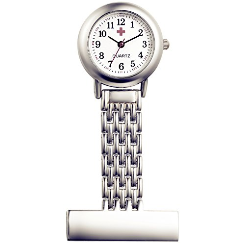 Lancardo Damen Mädchen Edelstahl Taschenuhr, Krankenschwester Uhr Analog Quarzuhr aus Legierung, mit rund Design Ansteckuhren Schwesternuhr, Silber
