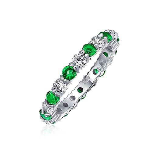 Dos Tonos De Verde Del Mes De Nacimiento Múltiples Color Eternidad CZ...