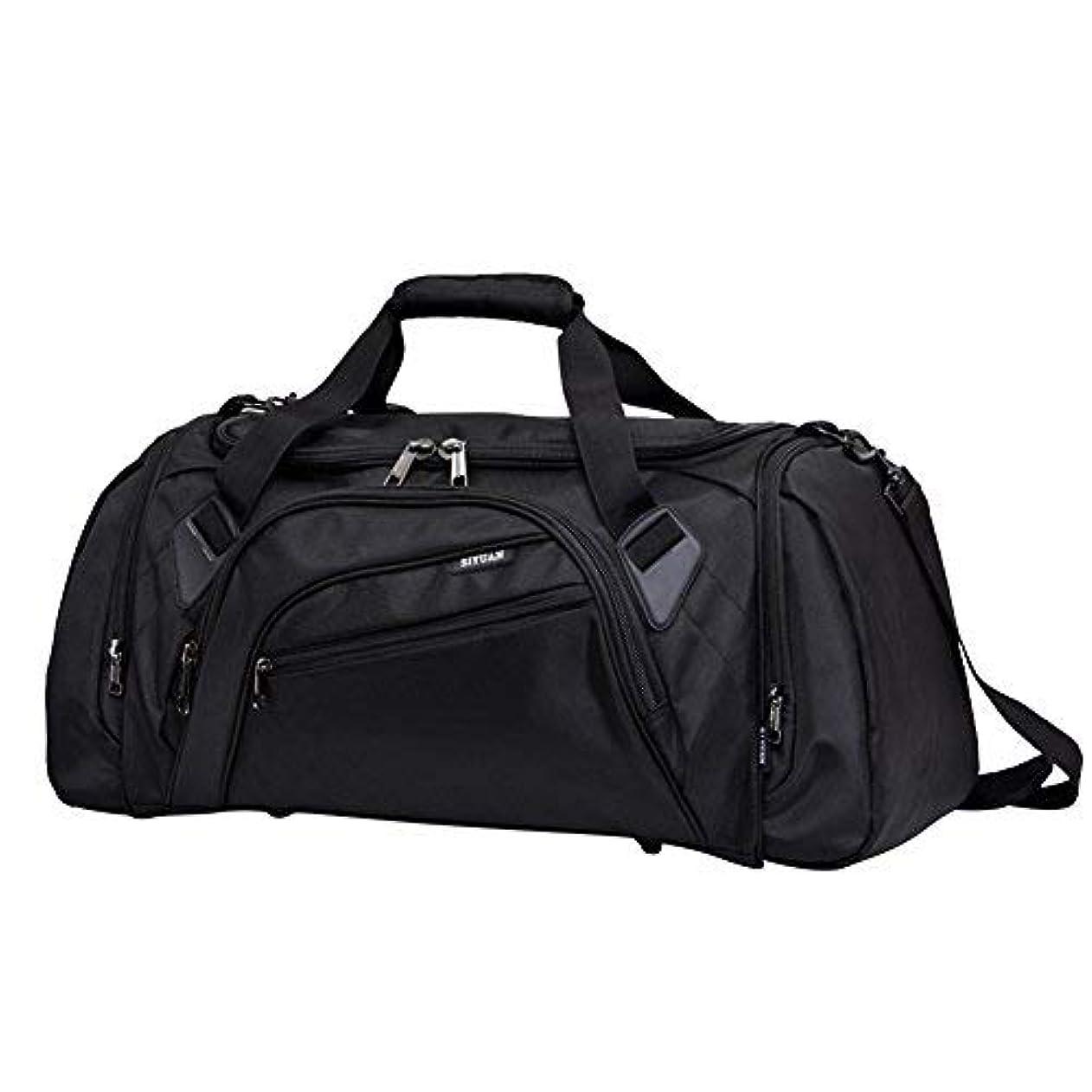 後難民気になるSIYUAN Athletic Duffel Bag Basketball Volleyball Duffel Bag with Shoes Compartment for Men and WomenBlackLarge [並行輸入品]