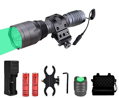 Windfire Linterna de caza profesional de 1500 lúmenes - Kit de linterna nocturna para caza, luz verde con presostato, montar, batería y cargador [Clase de eficiencia energética A]