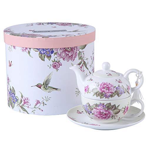 London Boutique Tea for One - Juego de Tetera, diseño de Flores y Mariposas, Color Beige y Crema