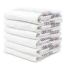 QILZO® 12 Paños de Cocina Sarga, Paños de Cocina de algodón, Toallas de Cocina absorbentes Lavable a Maquina, Juego de 12 paños de Cocina Suaves y duraderos, 56 x 56 cm Fabricado en España (Blanco)