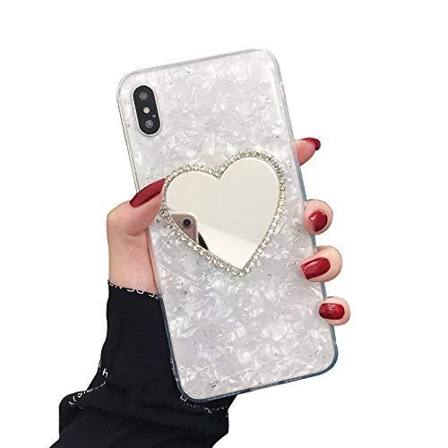 Funda QPOLLY compatible con iPhone XS Max, de silicona TPU, con purpurina, plata
