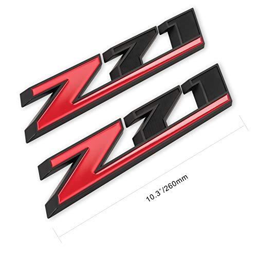 2Pcs 10.3' Z71 Emblem Badges for GM Chevy Silverado Colorado GMC Sierra Tahoe Suburban (Matte Black+Red)