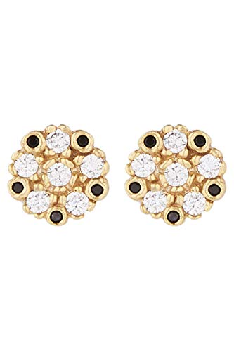 Córdoba Jewels | Pendientes de Plata de Ley 925 bañada en oro con zirconita con diseño Flor Zirconium Onix Gold