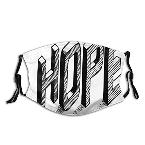 QIUTIANXIU Disegna le lettere con le bande che compitano la disposizione calligrafica disegnata a mano di speranza di ortografia Filtro antipolvere lavabile riutilizzabile e bocca riutilizzabile caldo