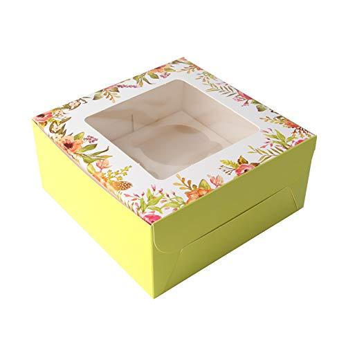 Accevo Cupcake Box [15 Stück] 16 x 16 x 7.5 cm Square Cake Box [Kommt mit Aufklebern] Kuchenbox pappe, Gebäck, Verpackung, Gebäckbehälter, Ostern Süßigkeiten, Schokolade