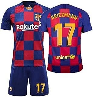 LLforever Sports Suit, Barcelona Jersey, No.17 Antoine Griezmann Football Sportswear, Soccer Boy T-Shirt