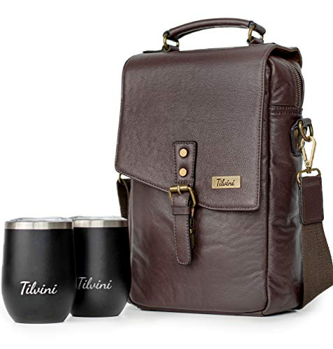 Insulated Genuine Leather Wine Bottle Drink Carrier With 2 Stainless Steel Wine Tumbler Glasses. Portable Bar Purses For The Wine Lover. Wine Totes And Carriers Case. Wine Purse Wine Bag Accessories