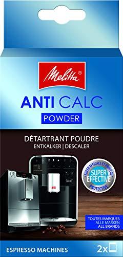 Melitta 178582 Entkalker Kaffeevollautomaten Anti Calc Espresso 2 Pulver Beutel je 40g (2x 40g), Verpackung kann variieren