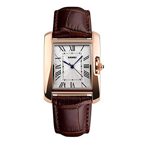 FeiWen Mujer Fashion Cuarzo Analógico Relojes de Pulsera Numerales Romanos Elegante Casual Rectangular Dorado Acero Inoxidable y Piel Correa Reloj