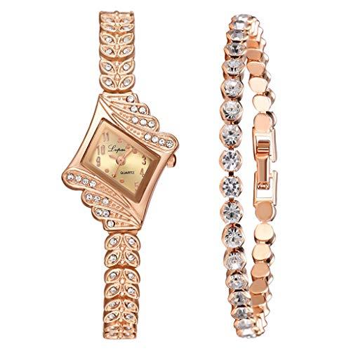 Damenuhren Set, Kristall Quartz Rhombus Armreif Diamantuhren Mit Edelstahlarmband FüR Damen, Damen Strass Armbanduhr + Schmuck Manschette Armband Set