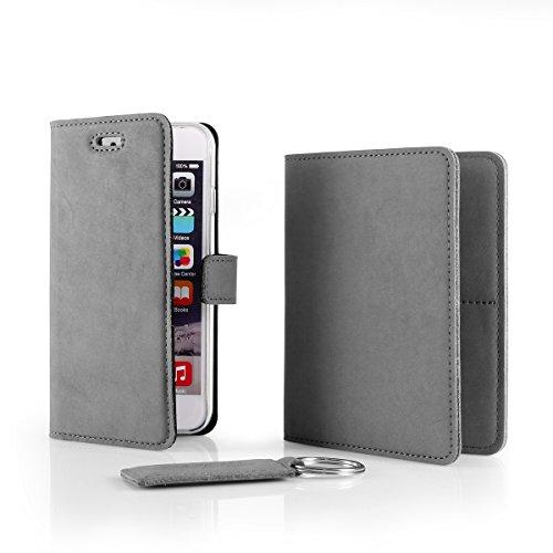 SURAZO Leder Geschenkset Handy Schutzhülle, Geldbörse, Schlüsselring - Farbe Grau Vintage Kollektion für Huawei P8 Lite 2015 (5,0 Zoll)