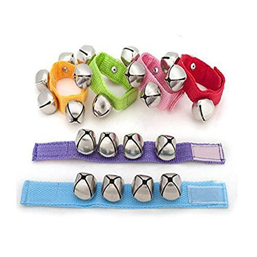 Nylon Handgelenk Glocken, Shineus Handgelenk schütteln Glocken Rasseln Ring Spielzeug Armband mit 6 Farben für Baby Kinder Kind 6er Pack