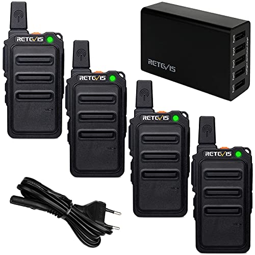 Retevis RT619 Mini Walkie Talkie, Recargable Walkie Talkie con Cargador USB de 5 Puertos, Squelch VOX PMR446, Sin Licencia, 16 Canales, Profesional para Familias, Empresas (4 Piezas, Negro)