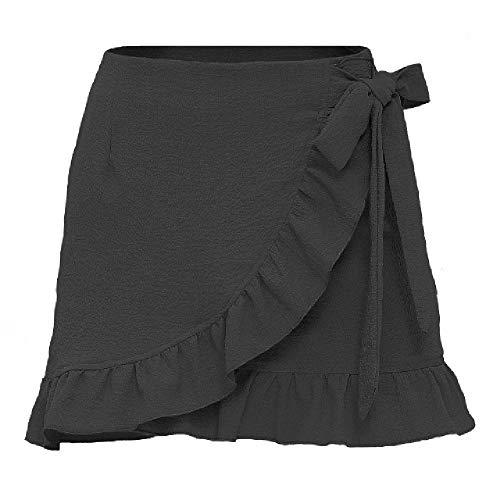 U/A de las mujeres de verano de cintura alta falda Seersucker color puro con cordones cremallera asimétrica corta mini falda
